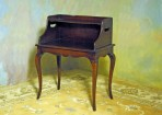 #42 Vintage Country French style chairside book table in solid mahogany