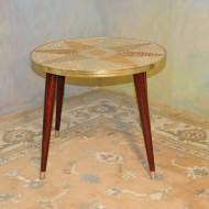 A022 Vintage modern chairside table with mosaic tile inlaid star burst top
