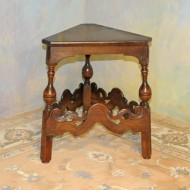 A023 Vintage Jacobean wedge table, original walnut finish with glass top