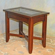 A0027 New End Table, Glass top curio table in contemporary style