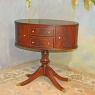 A030 Vintage Oval Sewing Table.  Professionally restored Ducan Phyfe book matched crotch burl top