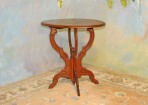 A034 Antique Chairside table of solid walnut, refinished