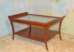 A035 New coffee table – Solid cherry with andover finish, beveled glass top and lower shelf