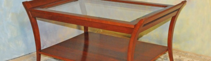 A035 New coffee table - Solid cherry with andover finish, beveled glass top and lower shelf