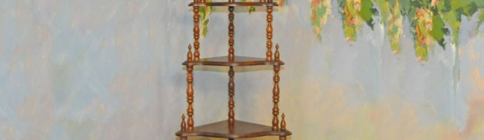 A038 Antique Corner Etagere of solid walnut