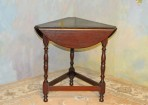 A042 Antique Dropleaf Table – solid mahogany with dark walnut finish
