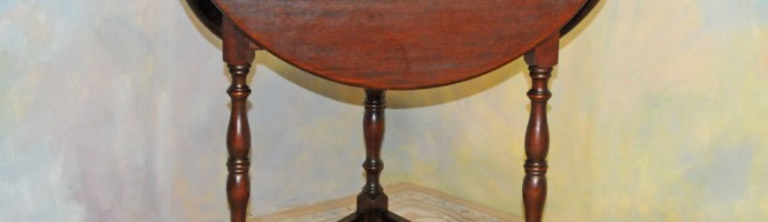 A042 Antique Dropleaf Table - solid mahogany with dark walnut finish