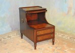 A043 Vintage Step End Table – both levels w/ gold trimmed leather tops