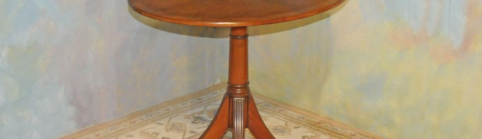 A044 Vintage Oval Table - 4-way book matched walnut veneer top with rosewood banding