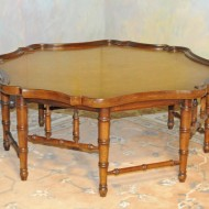 A046 Vintage Coffee table. Octagonal shape of solid wood with gold leaf top surface