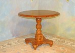 A045 New – Round Pedestal table – solid knotty pine with antique harvest finish