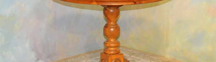 A045 New - Round Pedestal table - solid knotty pine with antique harvest finish