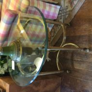 #309 Beveled glass and brass oval table with half round stretches