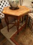 #555 Hexagon table with banded and six section burled top