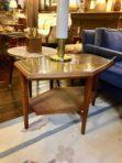 #924 Mid-century modern, hexagonal 2-tier table