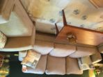 #123 Sofa Art Deco, contemporary design with taupe microfiber fabric