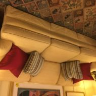 #487 High end, pleasing soft yellow damask fabric sofa