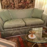 #695 Soft green damask with fringed throw pillows
